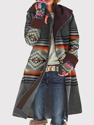 Berrylook Mid-Length Printed Woolen Coat clothes shopping near me, stores and shops, fur hood coat womens, leather jacket