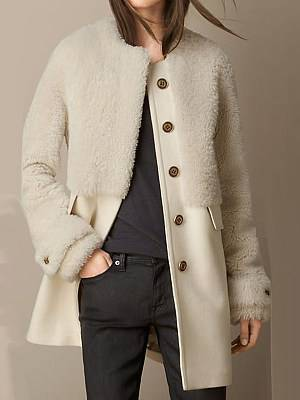 Berrylook Fashion stitching casual lamb wool coat stores and shops, clothes shopping near me, Solid Coats, long jackets for women, leather jacket