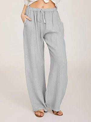 Berrylook Solid color elastic waist pockets loose casual trousers clothing stores, clothes shopping near me,