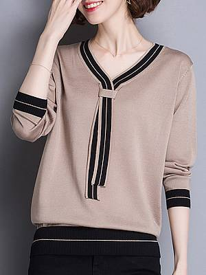 Berrylook Casual V Neck Patchwork Long Sleeve Pullover Sweater online shopping sites, shop, knit sweater, wool sweater