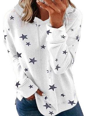 Berrylook Hat Collar Star Print Long Sleeve Hoodie online, clothes shopping near me, sweatshirts for women, grey hoodie
