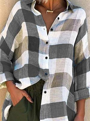 Berrylook Turn Down Collar Plaid Long Sleeve Blouse clothes shopping near me, online stores, work blouses, tunic tops for women
