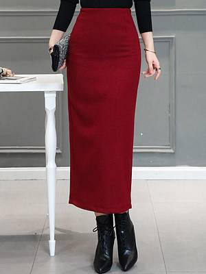 Berrylook Autumn and winter new thick woolen fabric slim back split hip skirt clothes shopping near me, online,