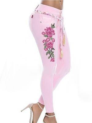 Berrylook Fashionable multicolor embroidered stretch jeans casual pants online, online sale, fishnet leggings, pink leggings