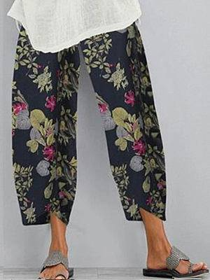 Berrylook Vintage Printed Loose Elastic Waist Pants clothes shopping near me, online,