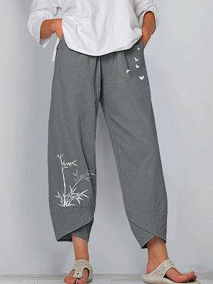 Berrylook Casual Cotton And Butterfly Print Elastic Waist Pants online shopping sites, clothes shopping near me,