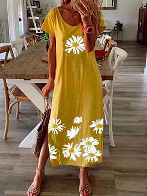 Berrylook Summer Hem Slit Daisy Print Short Sleeve Loose Dress stores and shops, clothes shopping near me, homecoming dresses, dresses for juniors