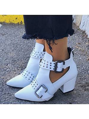 Berrylook Chunky Mid Heeled Point Toe Date Outdoor Short High Heels Boots online stores, shop,