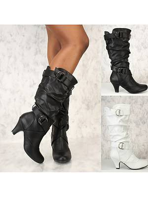 Berrylook Plain High Heeled Round Toe Outdoor Knee High High Heels Boots clothes shopping near me, online stores,