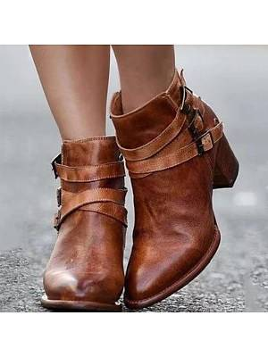 Berrylook Plain Chunky High Heeled Point Toe Date Outdoor Short High Heels Boots clothing stores, shoppers stop, Plain High Heels Boots,