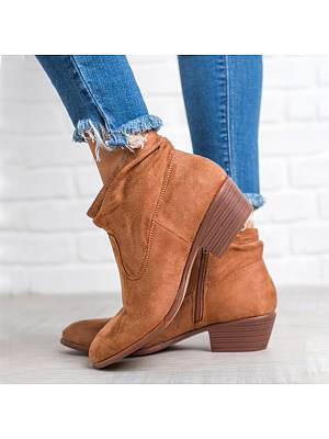 Berrylook Plain Chunky Low Heeled Velvet Round Toe Date Outdoor Short Ankle Boots shoping, online,