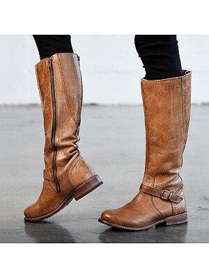 Berrylook Plain Flat Round Toe Date Outdoor Knee High Flat Boots shoping, shoppers stop, Plain Flat Boots,