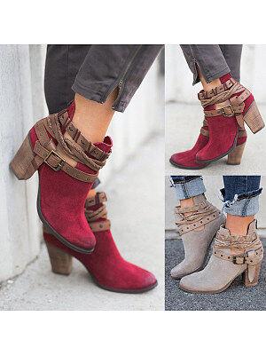 Berrylook Color Block Chunky High Heeled Velvet Round Toe Outdoor High Heels Boots shop, online,