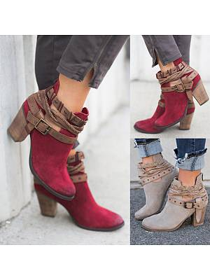 Berrylook Color Block Chunky High Heeled Velvet Round Toe Outdoor High Heels Boots shoppers stop, fashion store,
