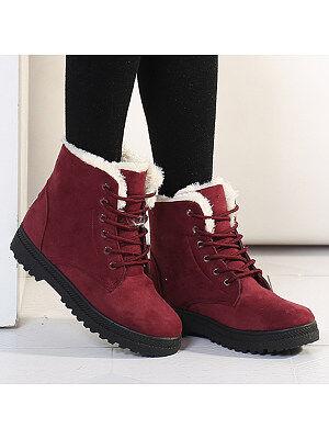 Berrylook Plain Flat Velvet Criss Cross Round Toe Casual Date Outdoor Short Flat Boots shoppers stop, online sale,