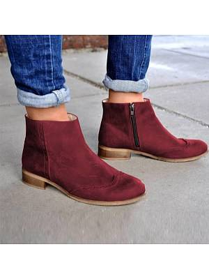 Berrylook Chunky Low Heeled Round Toe Date Outdoor Short Ankle Boots shoppers stop, fashion store,