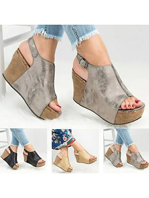Berrylook Plain High Heeled Peep Toe Outdoor Wedge Sandals clothes shopping near me, shoppers stop,