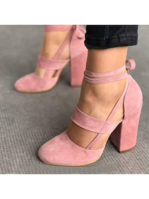 Berrylook Plain Chunky High Heeled Velvet Ankle Strap Round Toe Date Event Pumps online sale, shoping,