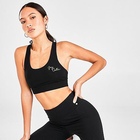 Juicy Sport Women's Script Sports Bra in Black/Black Size Medium