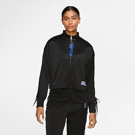 Nike Women's Sportswear Sisterhood Crop Coaches Jacket in Black/Black Size Medium Cotton/100% Polyester/Spandex
