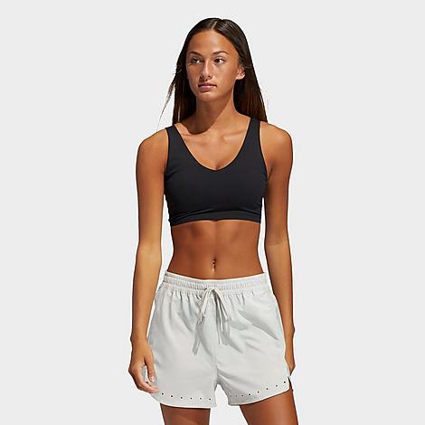 Adidas Women's Cozy Yoga Training Light-Impact Sports Bra in Black/Black Size X-Large Polyester