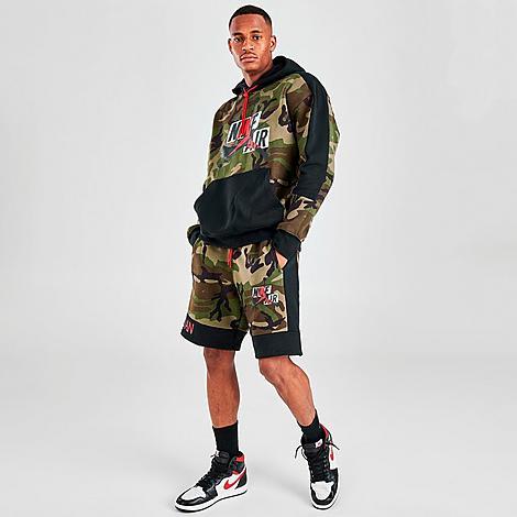 Nike Jordan Men's Mashup Jumpman Classics Camo Fleece Shorts in Green/Medium Olive Size X-Large Cotton/Polyester/Fleece