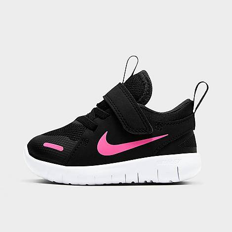 Nike Girls' Toddler Flex Contact 4 Hook-and-Loop Running Shoes in Black/Black Size 8.0