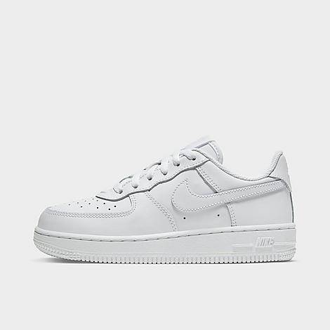 Nike Little Kids' Air Force 1 Low Casual Shoes in White/White Size 12.0 Leather