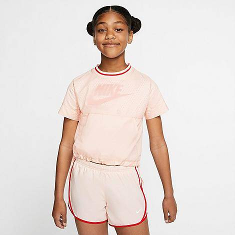 Nike Girls' Air Translucent Oversized T-Shirt in Pink/Washed Coral Size X-Large 100% Polyester