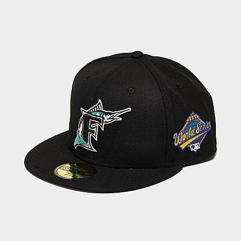 New Era Men's Florida Marlins MLB World Series Wool 59Fifty Fitted Hat in Black/Black Size 7 1/4