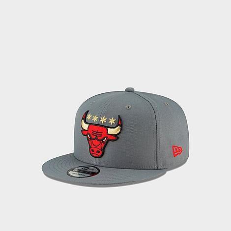 New Era Chicago Bulls NBA Logo 9FIFTY Snapback Hat in Grey/Charcoal Grey Polyester