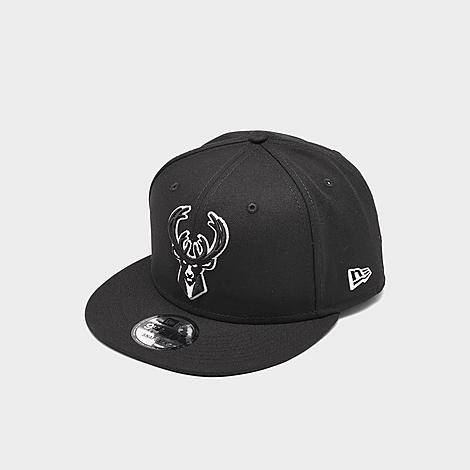 New Era Milwaukee Bucks NBA Basic 9FIFTY Snapback Hat in Black/Black Polyester