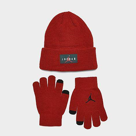 Nike Jordan Kids' Air Jumpman Air Beanie Hat and Gloves Set in Red/Red Cotton/Knit