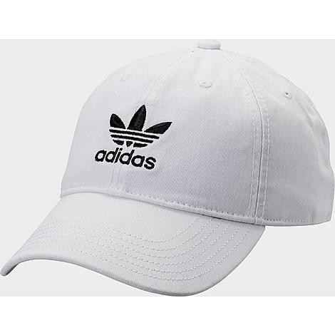 Adidas Originals Precurved Washed Strapback Hat in White/White 100% Cotton