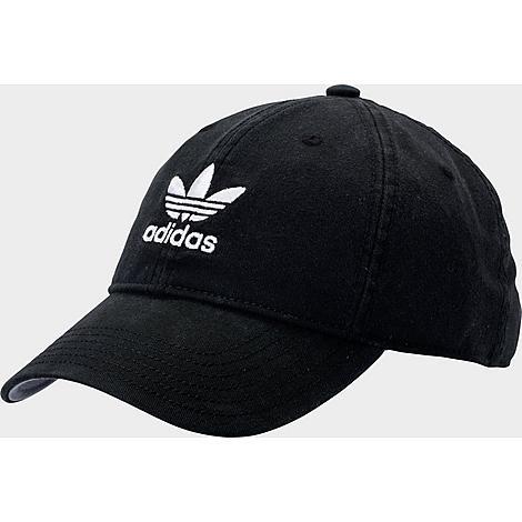 Adidas Originals Precurved Washed Strapback Hat in Black/Black 100% Cotton