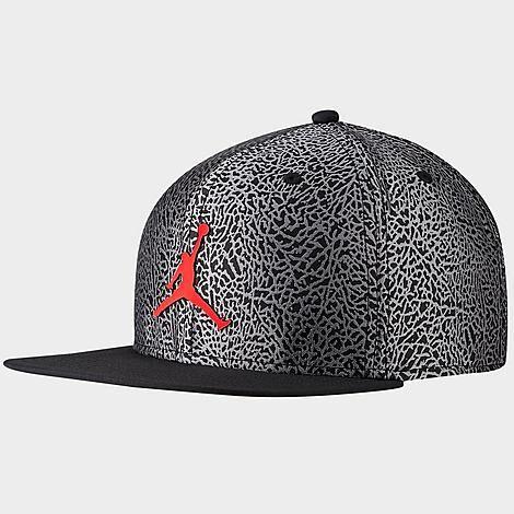 Nike Jordan Pro Elephant Print Snapback Hat in Black/Grey 100% Polyester/Jacquard
