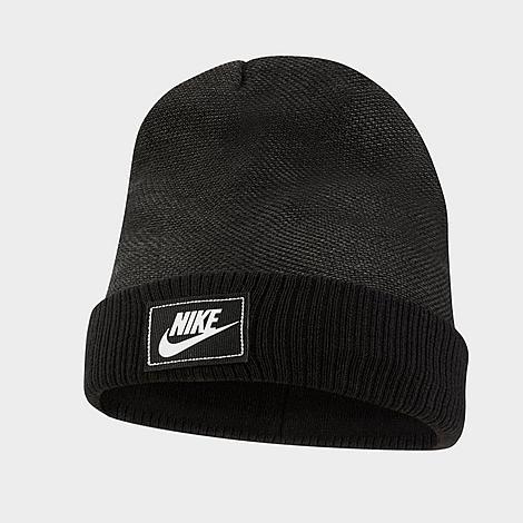 Nike Sportswear Cuffed Futura Beanie Hat in Black/Black Acrylic/Knit/Jacquard