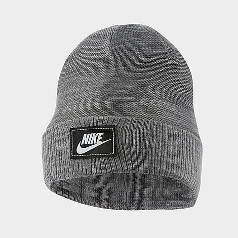 Nike Sportswear Cuffed Futura Beanie Hat in Grey/Charcoal Heather Acrylic/Knit/Jacquard