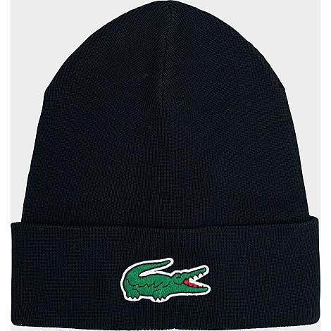 Lacoste Wool Blend Knit Beanie Hat in Black/Black Acrylic/Wool/Knit