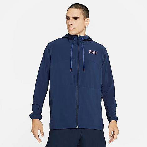 Nike Men's Sport Clash Jacket in Blue/Midnight Navy Size X-Large Polyester/Spandex