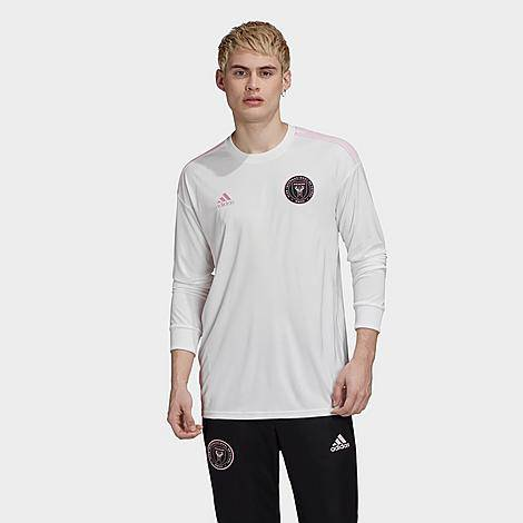 Adidas Men's Inter Miami CF Home Long-Sleeve Soccer Jersey in White/White Size Small