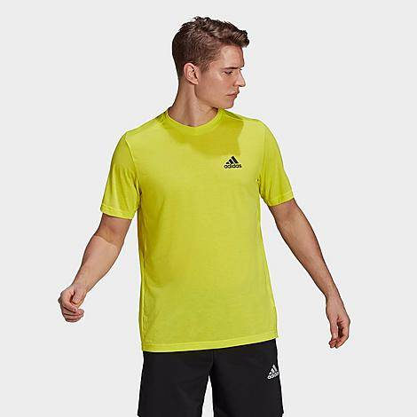 Adidas Men's AEROREADY Designed 2 Move Feelready Sport T-Shirt in Yellow/Bright Yellow Size 2X-Large Cotton/Polyester/Jersey