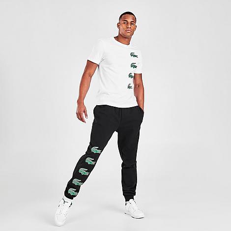 Lacoste Men's SPORT Crocodile Print Jogger Pants in Black/Black Size 2X-Large Cotton/Polyester/Fleece
