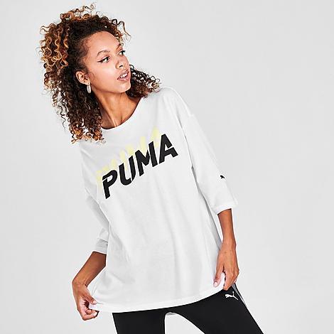 Puma Women's Modern Sports Fashion T-Shirt in White/White Size Medium Cotton