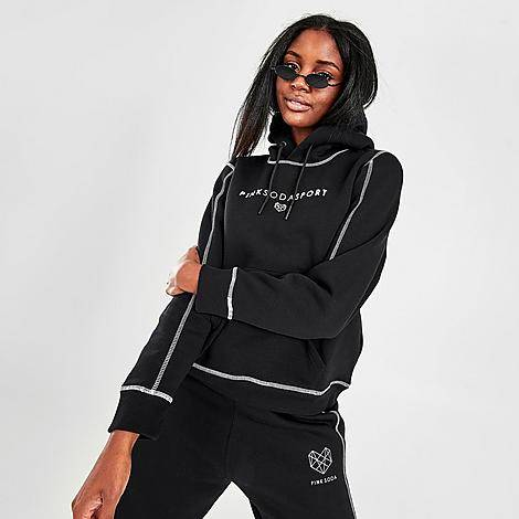 Pink Soda Sport Women's Flash Hoodie (Sizes XS-3X) in Black/Black Size X-Small Cotton/Polyester