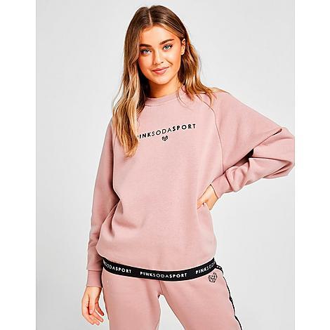 Pink Soda Sport Women's Tape Crewneck Sweatshirt in Pink/Mauve Size Medium