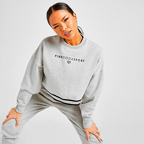 Pink Soda Sport Women's Lurex Tape Crew Sweatshirt in Grey/Grey Marl Size Small