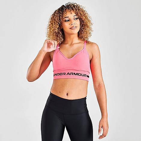 Under Armour Women's Seamless Low Long Heather Medium-Support Sports Bra in Pink/Cerise Heather Size Small Nylon/Knit