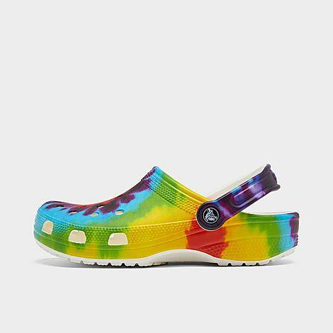 Crocs Classic Tie-Dye Graphic Clog Shoes in Green/Yellow/Tie-Dye Multi Size 5.0
