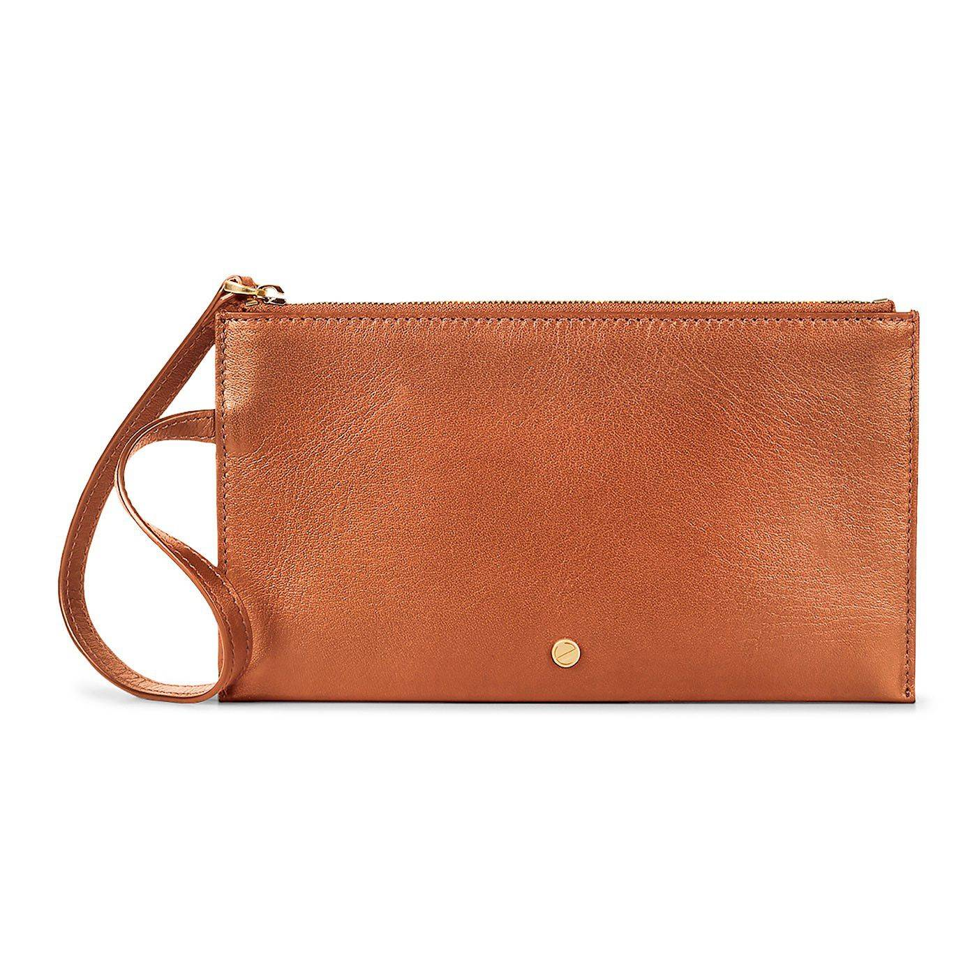 ECCO Sculptured Pouch Wallet: One Size - Amber